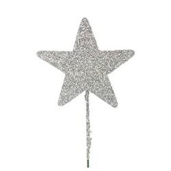 Stjerne 5 cm sølv med...