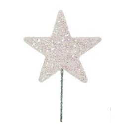Stjerne 5cm hvit med...