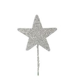 Stjerne 8cm sølv med...