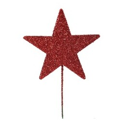 Stjerne 8cm rød med glitter...